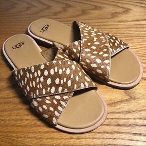 UGG Slide Sandal Giraffe Print Cow Hair Straps 7